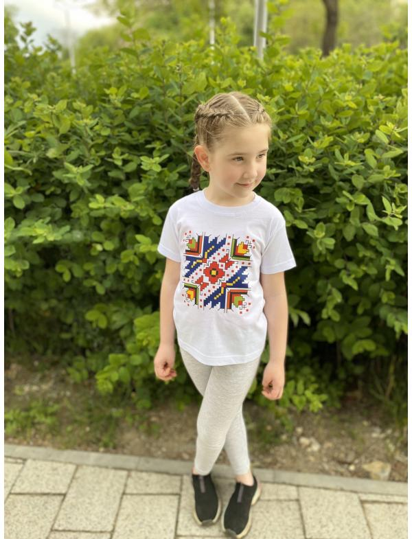 """Children's T-shirt with printed embroidery pattern """"Protection"""""""