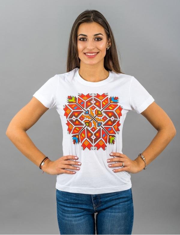 "Women's T-shirt with printed embroidery pattern ""Star"""