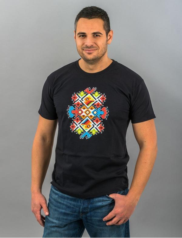 """Мъжка тениска с Шевица """"Сватба"""" черна"""