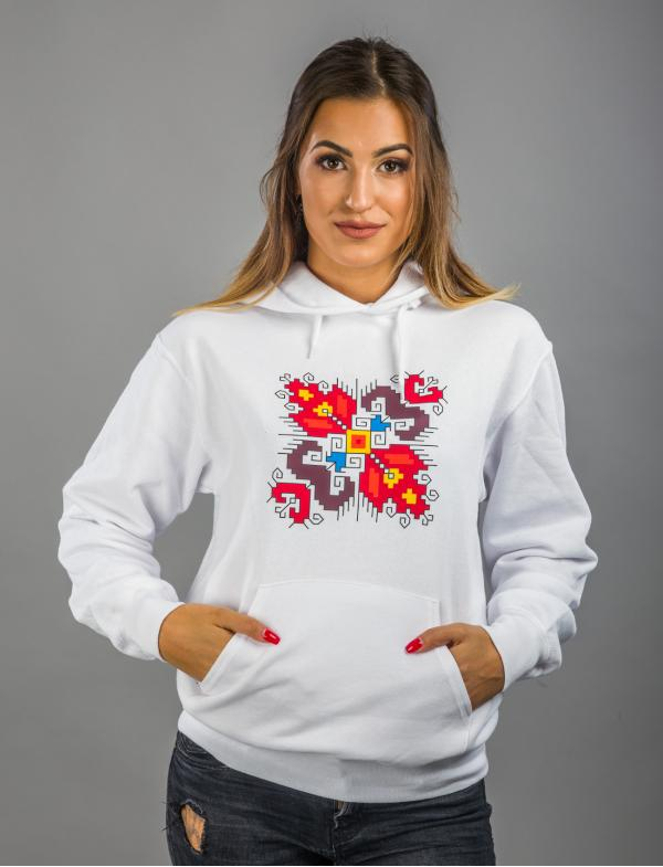 "Women's White Hoodie with printed embroidery pattern ""Love"""
