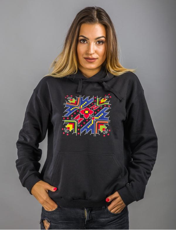"Women's Black Hoodie with printed embroidery pattern ""Palm Sunday"""