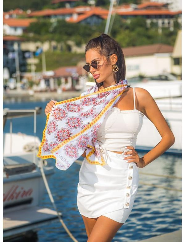 """Scarf with printed embroidery pattern """"Sun"""""""