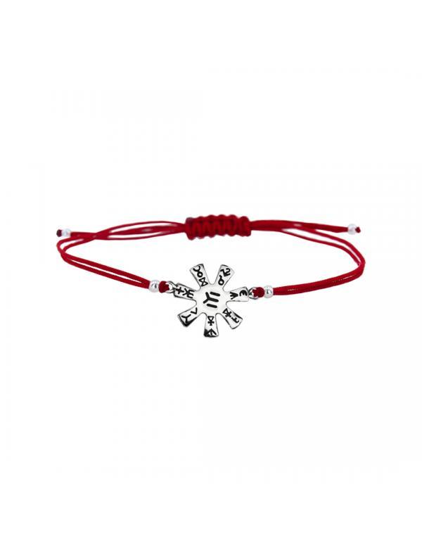 Гривна с червен конец и сребърен елемент Розетата от Плиска