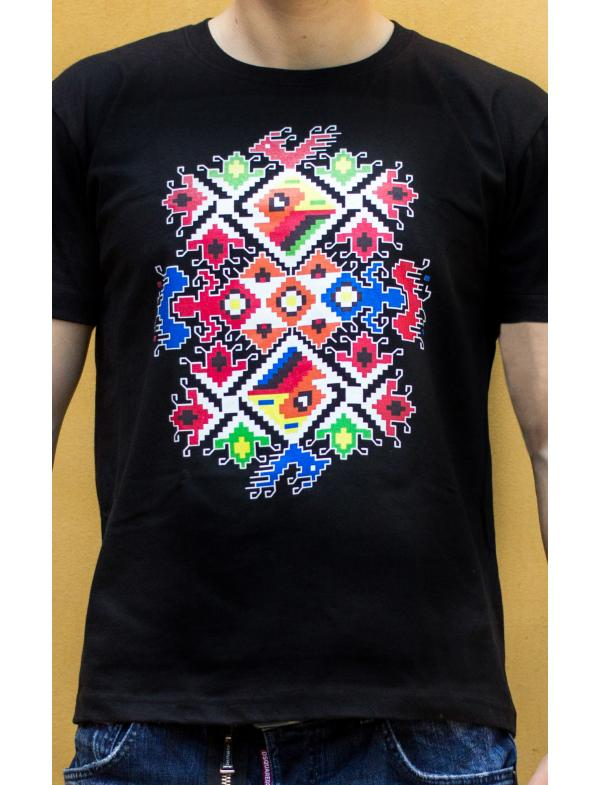 "Men's T-shirt with printed embroidery pattern ""Wedding"" black"