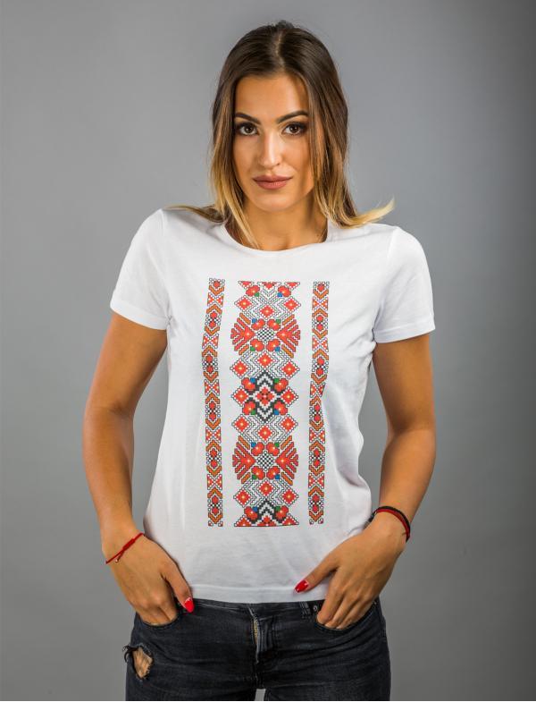 """Дамска бяла тениска с Шевица """"Благодат"""""""