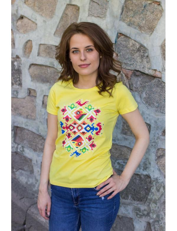 "Women's T-shirt with printed embroidery pattern ""Wedding"" yellow"
