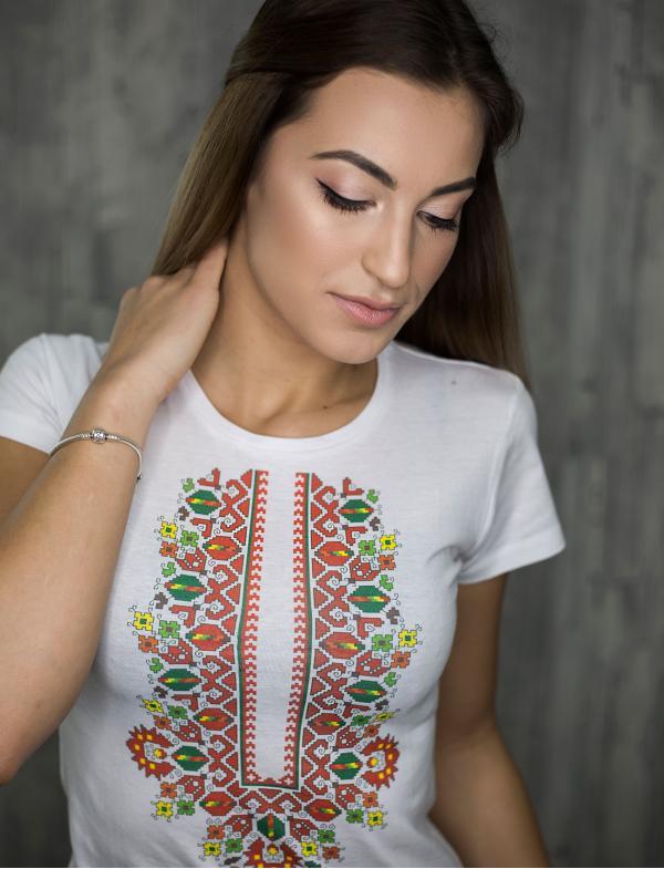 """Camiseta de señora con la estampa del bordado de """"Despierta"""""""