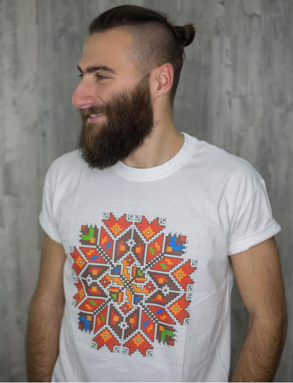 "Men's T-shirt with printed embroidery pattern ""Star"""